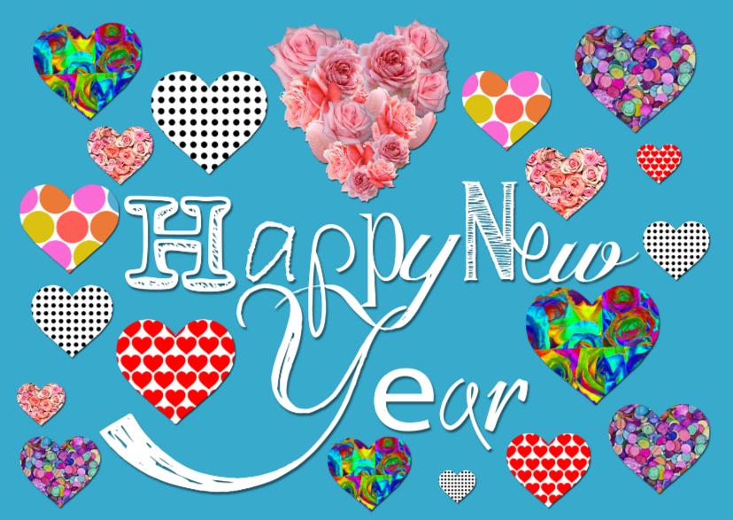Nieuwjaarskaarten - nieuwjaar Hartjes