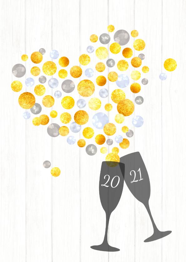 Nieuwjaarskaarten - Nieuwjaar hartverwarmende sprankelende proost 2021