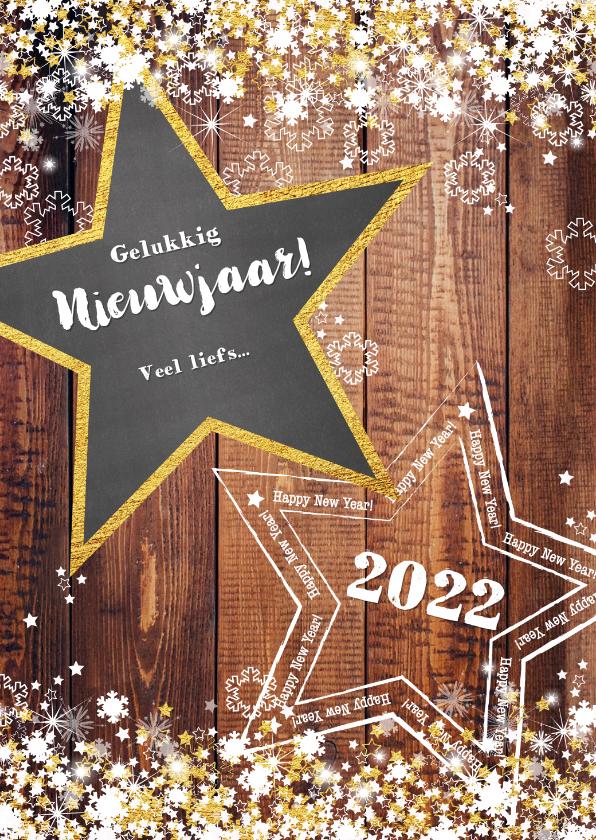Nieuwjaarskaarten - Nieuwjaar stoer en romantisch hout en sterren 2022