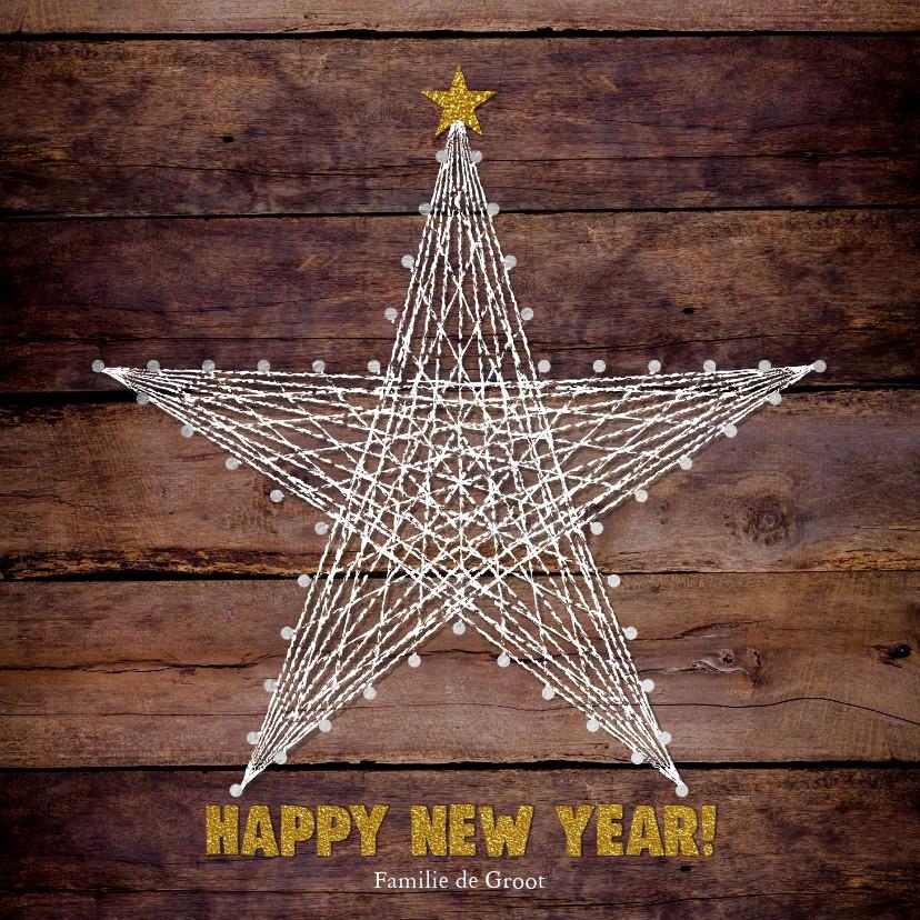 Nieuwjaarskaarten - Nieuwjaar stoere moderne kaart houtprint en ster van touw