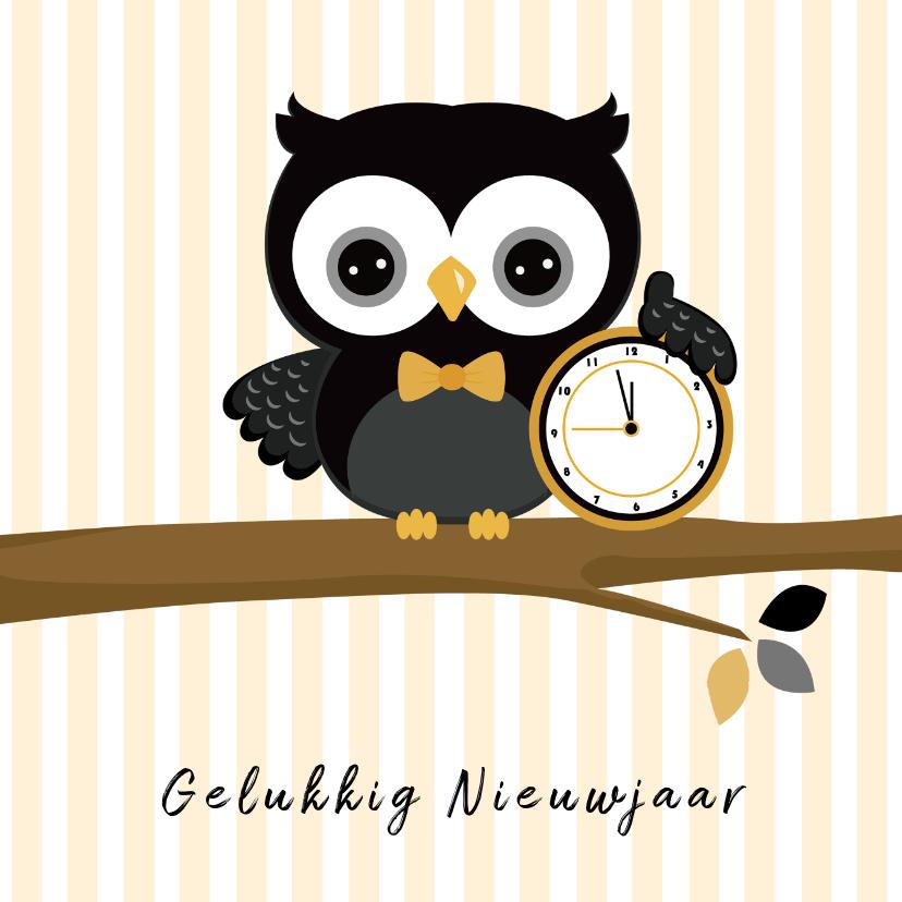 Nieuwjaarskaarten - Nieuwjaar wensen uil met klok