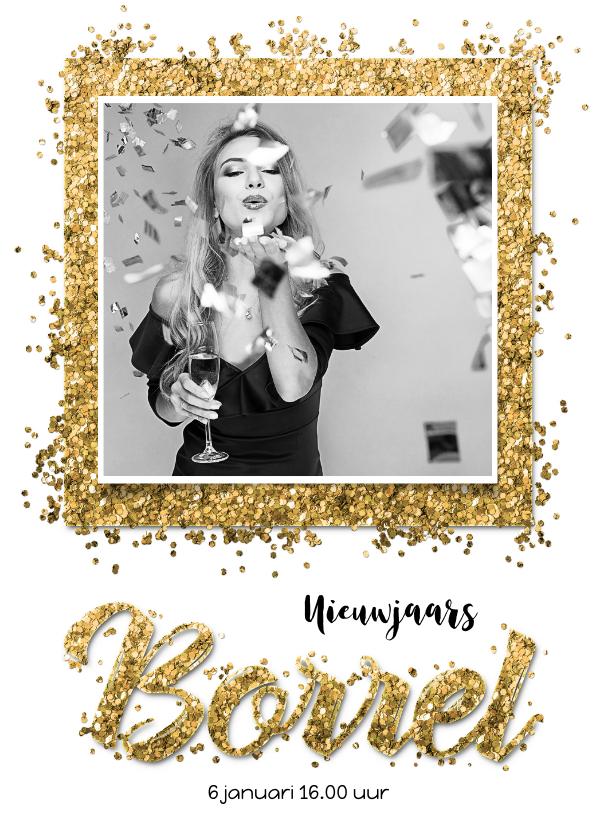 Nieuwjaarskaarten - Nieuwjaars borrel confetti goud