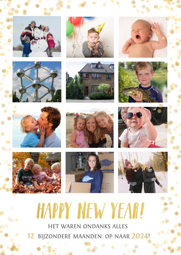 Nieuwjaarskaarten - Nieuwjaars fotocollage jaarkaart terugblik met 12 foto's