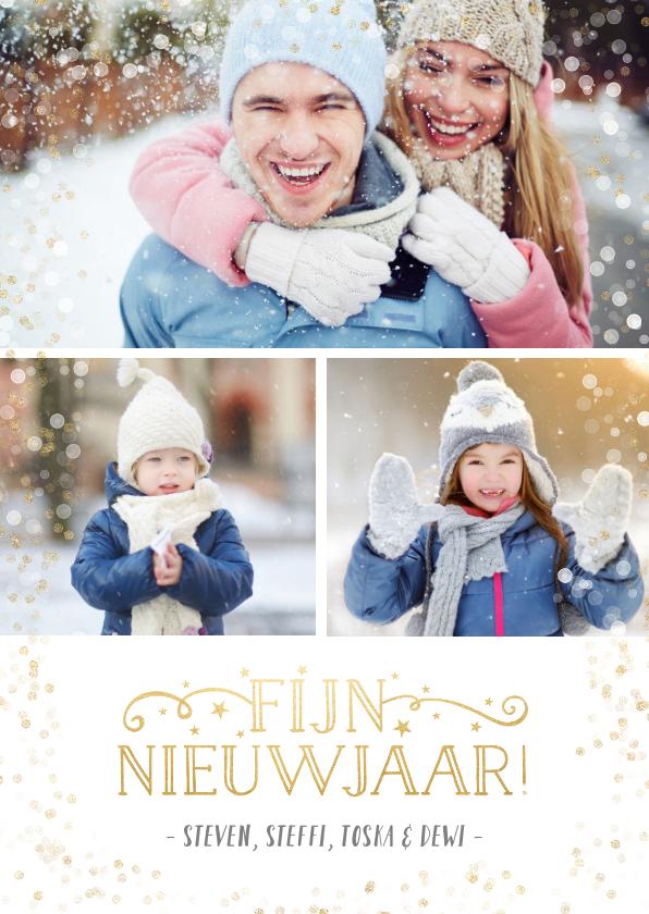 Nieuwjaarskaarten - Nieuwjaars fotocollage kaart met 3 foto's