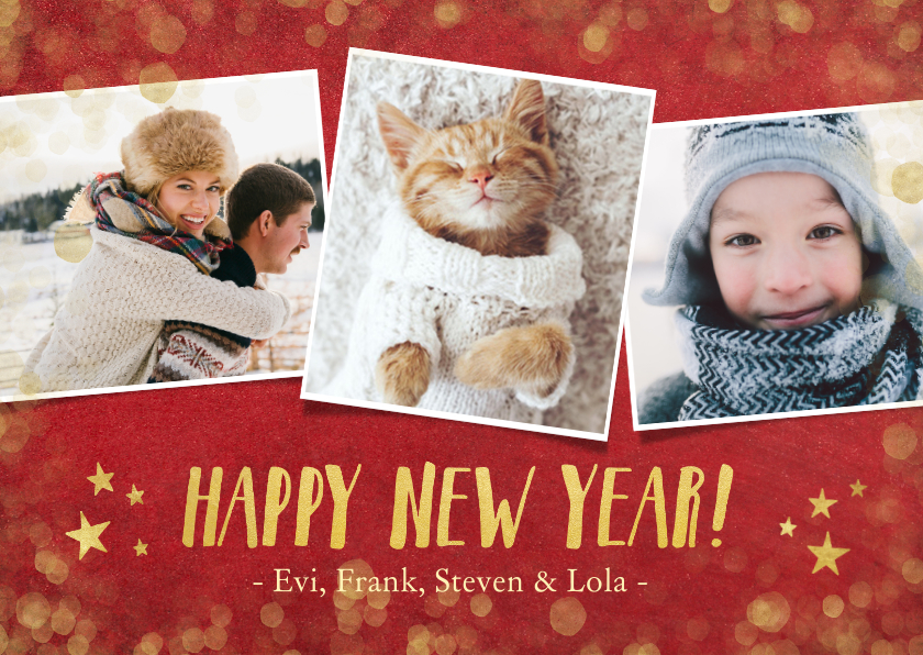 Nieuwjaarskaarten - Nieuwjaars fotocollage kaart met rood en goud