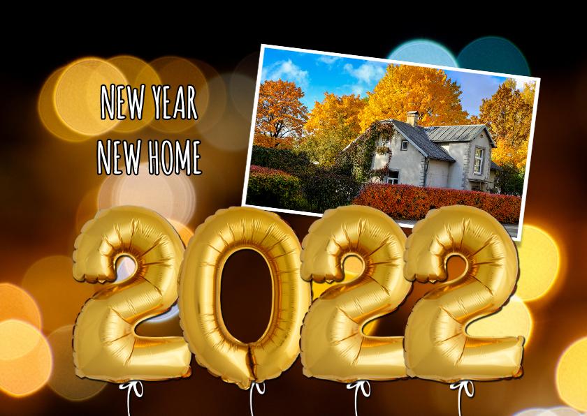 Nieuwjaarskaarten - Nieuwjaars verhuiskaart ballonnen goud 2022
