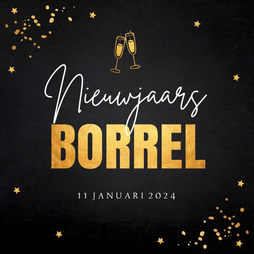 Nieuwjaarskaarten - Nieuwjaarsborrel confetti typografie goudlook