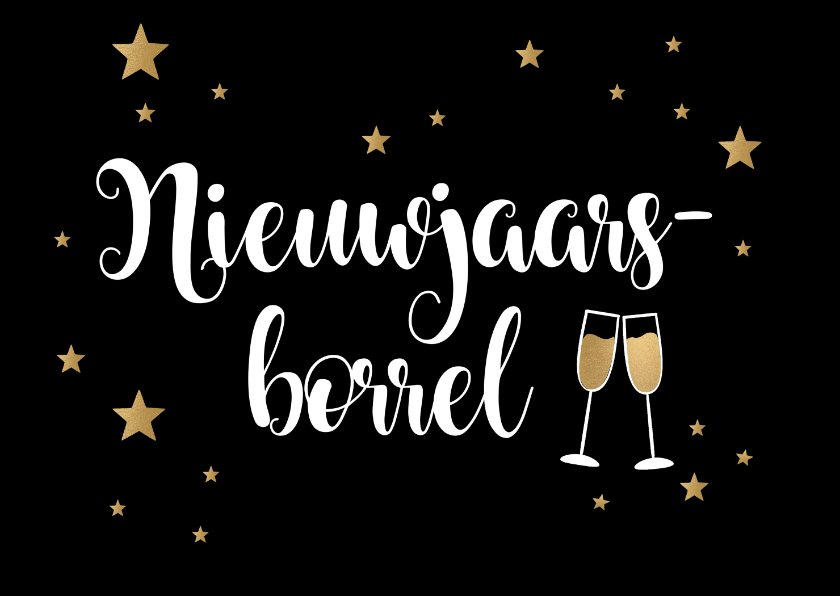 Nieuwjaarskaarten - Nieuwjaarsborrel goudlook champagne