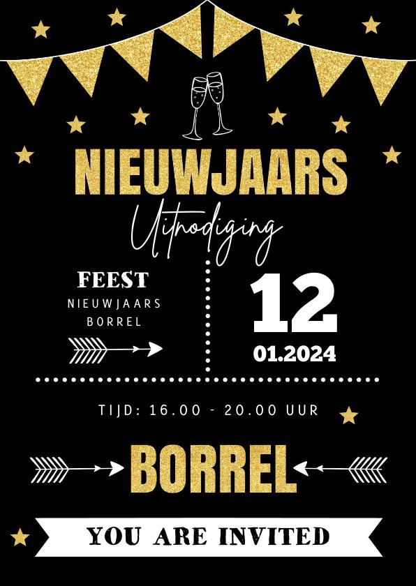 Nieuwjaarskaarten - Nieuwjaarsborrel online uitnodiging typografie goudlook