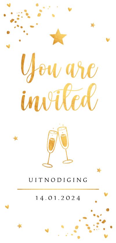 Nieuwjaarskaarten - Nieuwjaarsborrel uitnodiging goudlook confetti