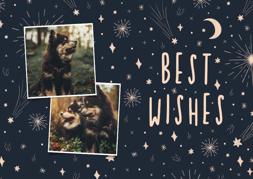 Nieuwjaarskaarten - Nieuwjaarskaart 2 foto's, sterren en vuurwerk
