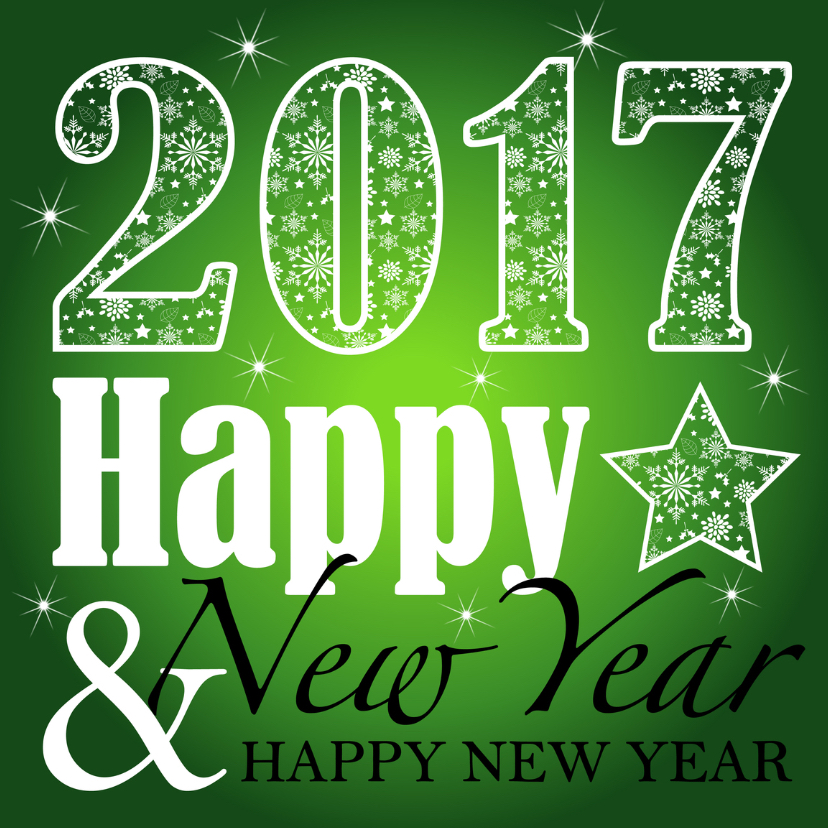 Nieuwjaarskaarten - Nieuwjaarskaart 2016 groen LB04
