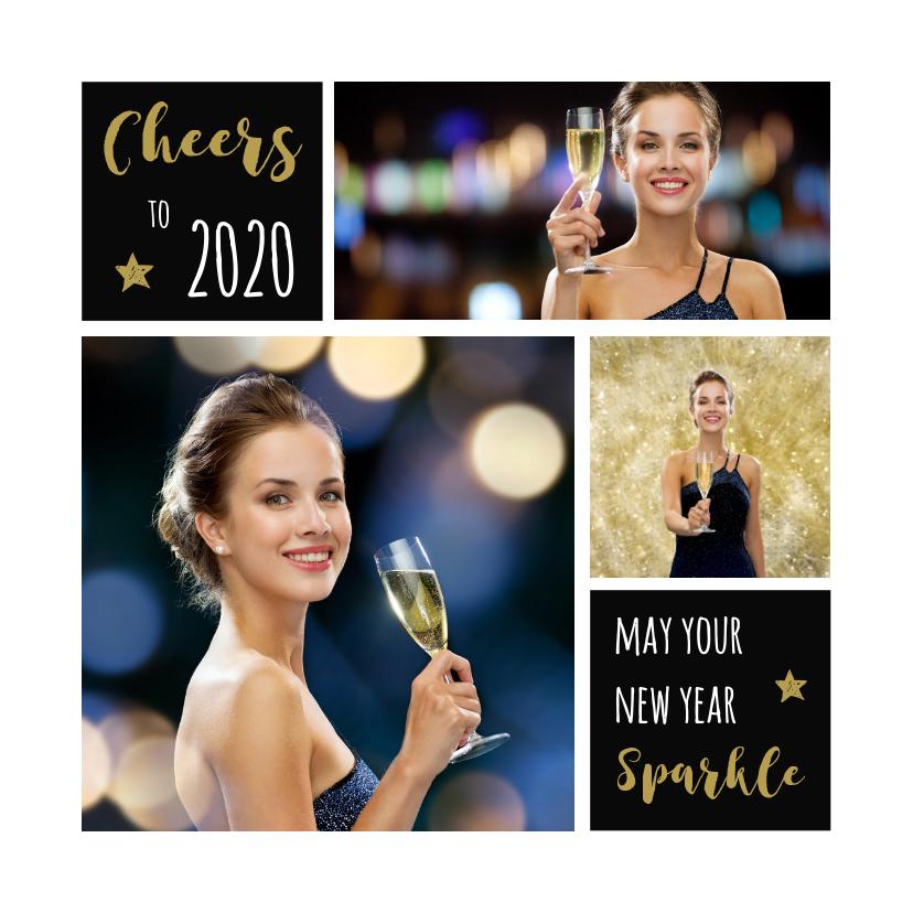 Nieuwjaarskaarten - Nieuwjaarskaart 2019 collage aanpasbare achtergrondkleur