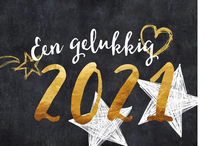 Nieuwjaarskaarten - Nieuwjaarskaart 2020 goud en zwart