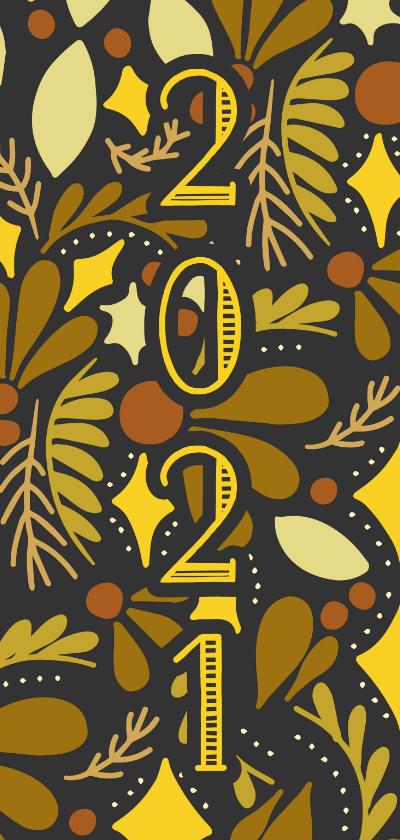Nieuwjaarskaarten - Nieuwjaarskaart '2021' dubbel met illustraties