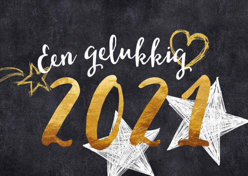 Nieuwjaarskaarten - Nieuwjaarskaart 2021 goud en zwart