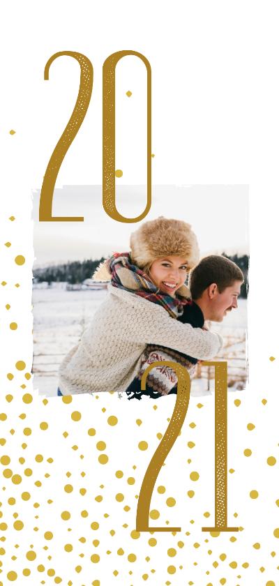 Nieuwjaarskaarten - Nieuwjaarskaart '2021' met foto en stippen