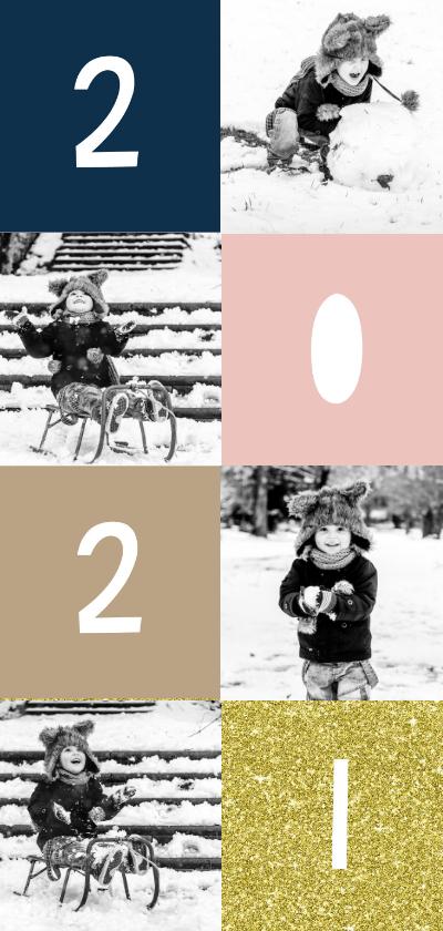 Nieuwjaarskaarten - Nieuwjaarskaart '2021' met vakjes en foto's