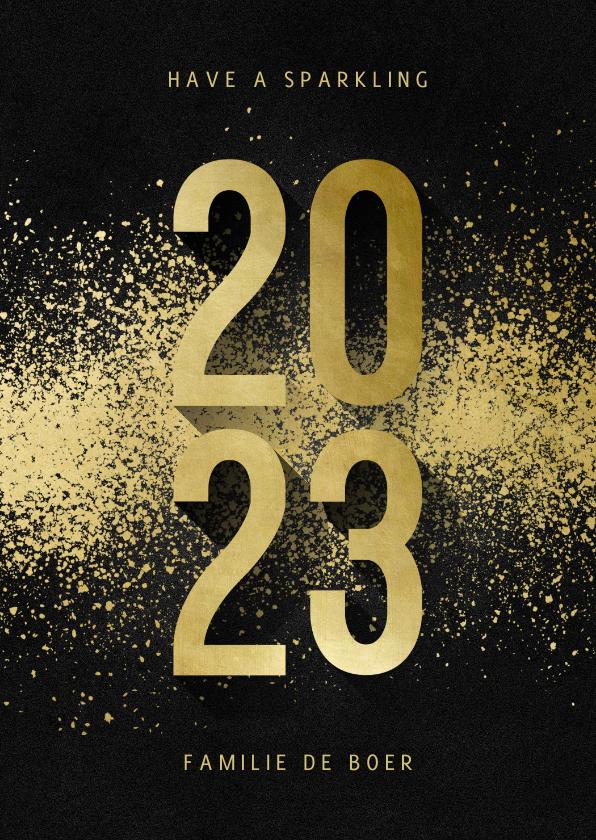Nieuwjaarskaarten - Nieuwjaarskaart 2022 goudlook met spetters