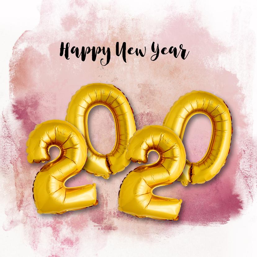 Nieuwjaarskaarten - Nieuwjaarskaart ballon 2020 goud watercolours paars