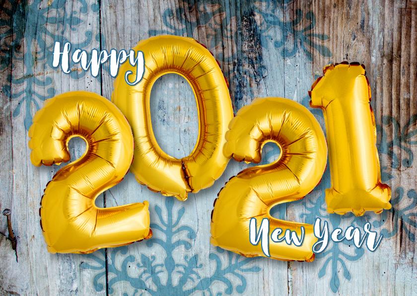 Nieuwjaarskaarten - Nieuwjaarskaart ballon goud 2021 op hout