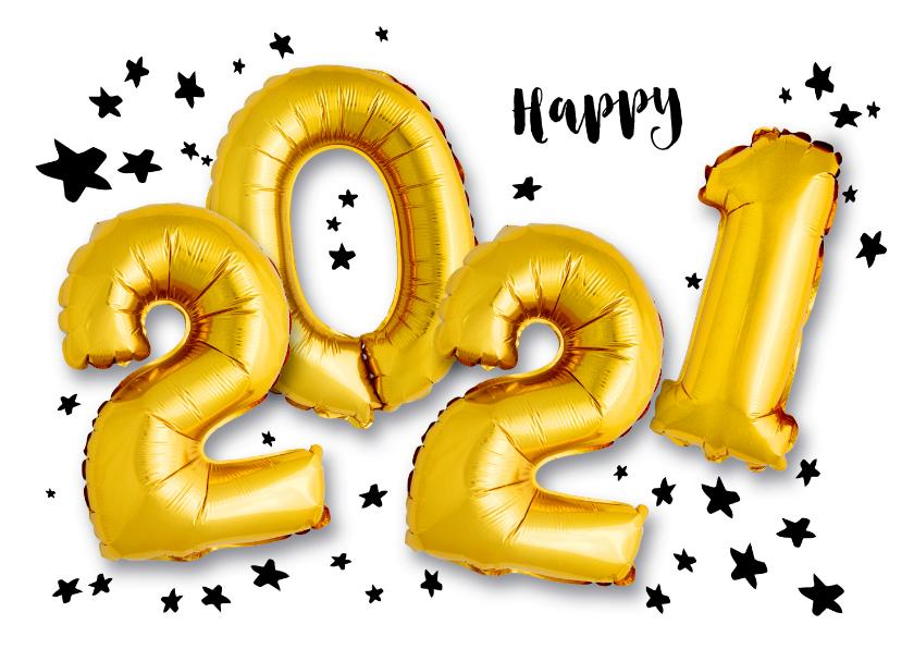 Nieuwjaarskaarten - Nieuwjaarskaart ballonnen 2021 met sterren