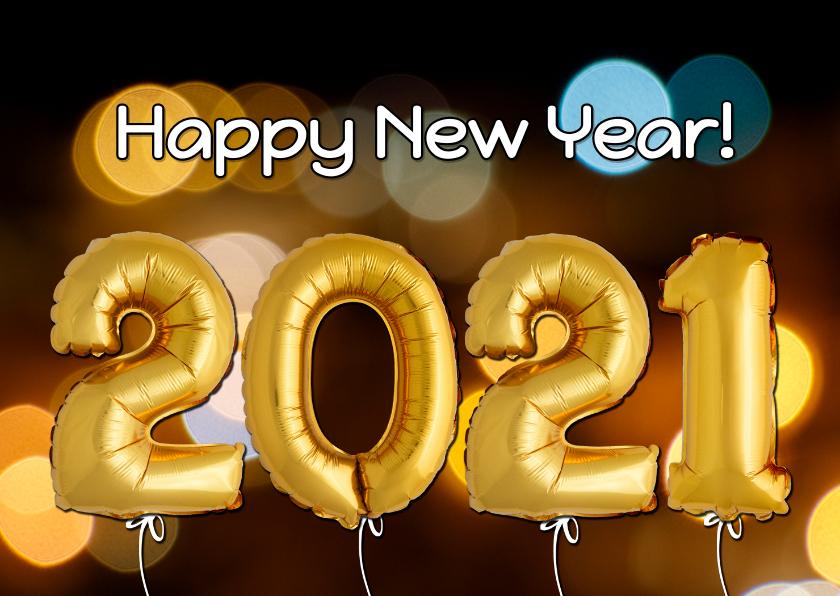 Nieuwjaarskaarten - Nieuwjaarskaart ballonnen goud