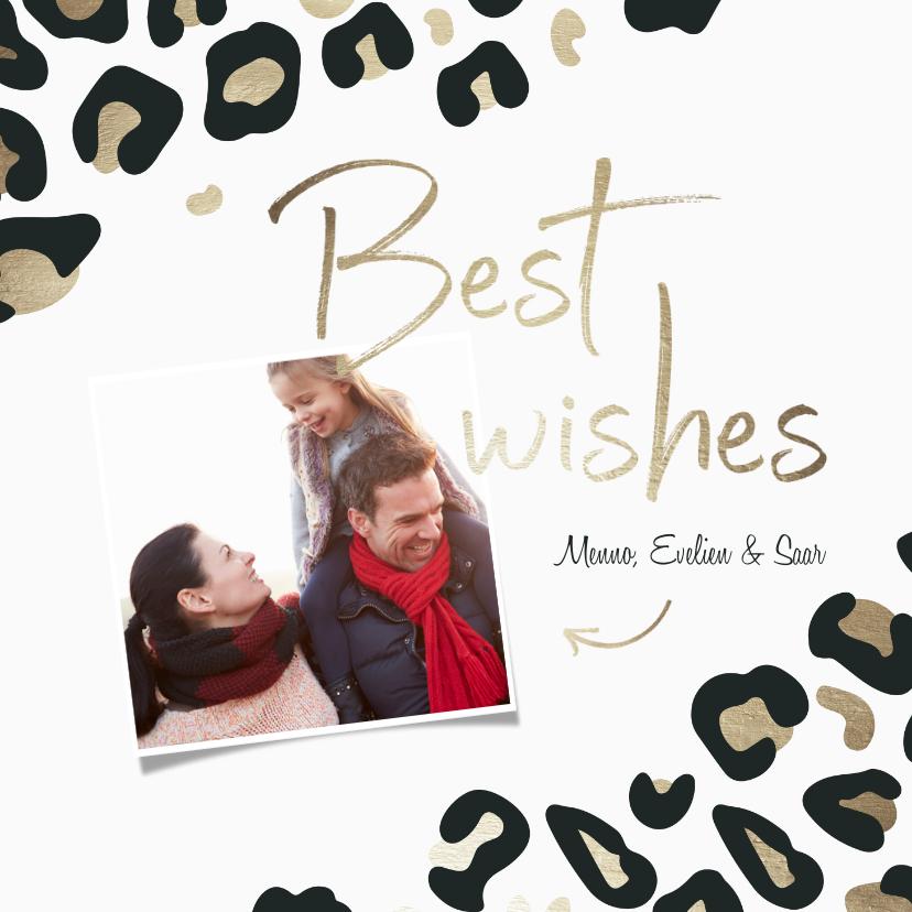Nieuwjaarskaarten - Nieuwjaarskaart Best wishes met foto goudlook panterprint