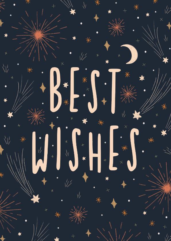 Nieuwjaarskaarten - Nieuwjaarskaart best wishes met vuurwerk en sterren