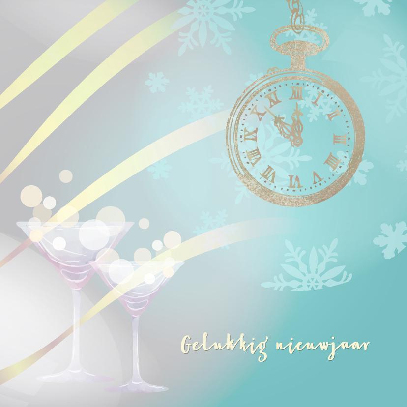 Nieuwjaarskaarten - Nieuwjaarskaart blauw met klok op 5 voor 12