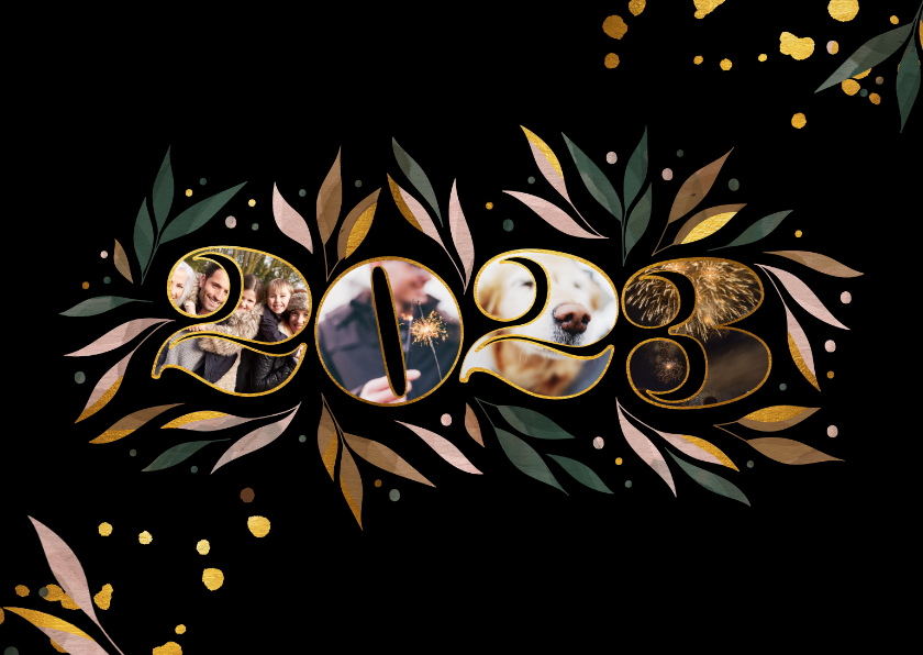 Nieuwjaarskaarten - Nieuwjaarskaart botanisch '2022' fotocollage