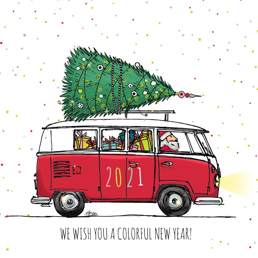 Nieuwjaarskaarten - Nieuwjaarskaart Busje kleurrijk 2020