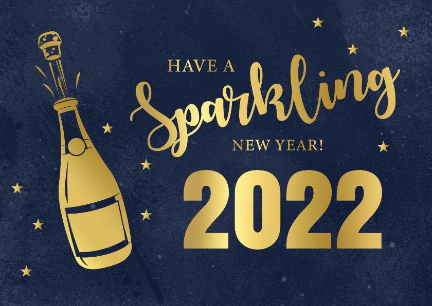 Nieuwjaarskaarten - Nieuwjaarskaart champagne fles typografie goudlook