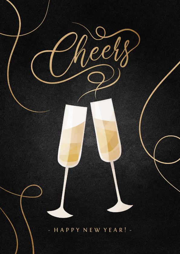 Nieuwjaarskaarten - Nieuwjaarskaart champagne met gouden linten