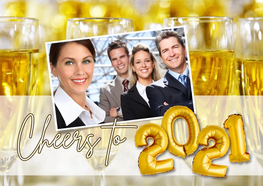 Nieuwjaarskaarten - Nieuwjaarskaart Cheers to 2021 champagne ballonnen goud
