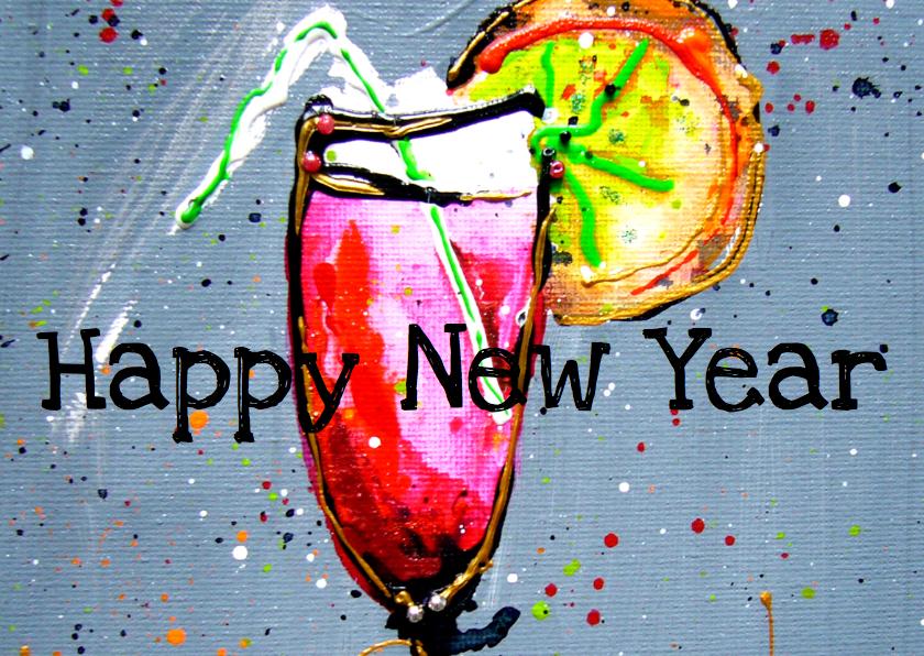 Nieuwjaarskaarten - Nieuwjaarskaart cocktail