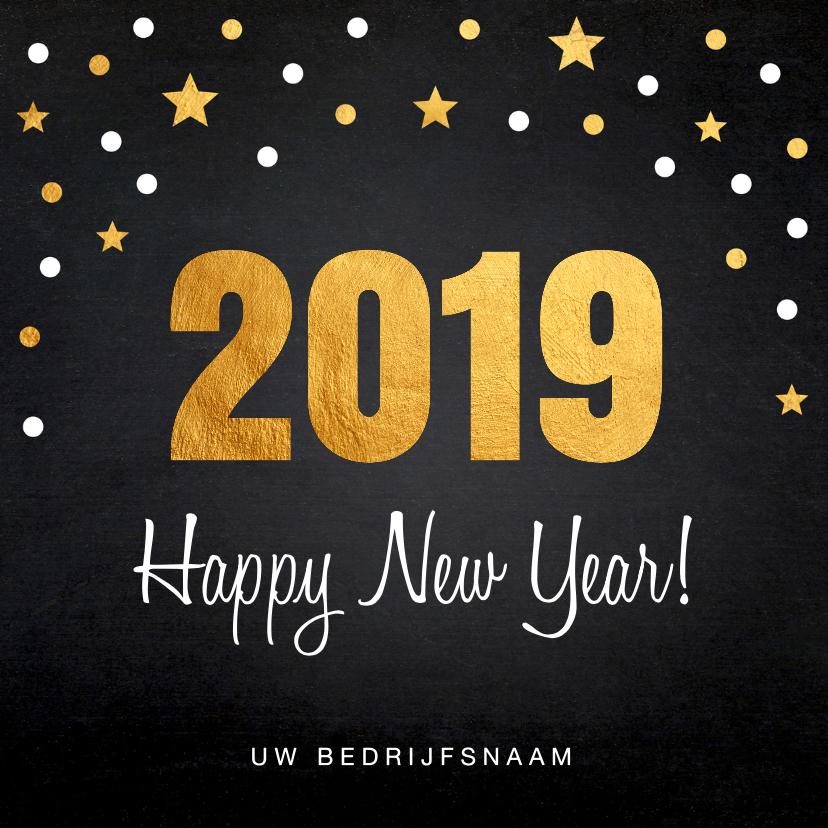 Nieuwjaarskaarten - Nieuwjaarskaart confetti goud 2019 krijtbord