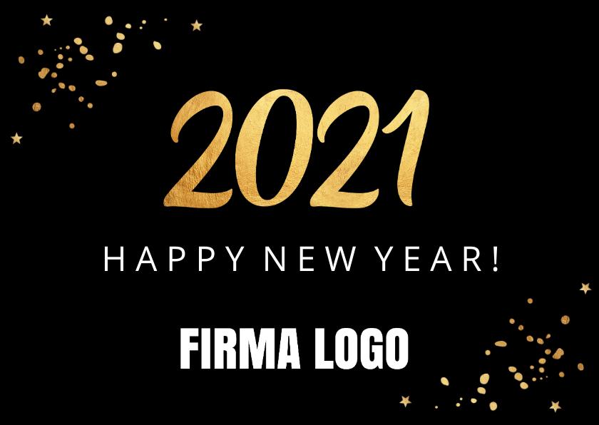 Nieuwjaarskaarten - Nieuwjaarskaart confetti goud 2020