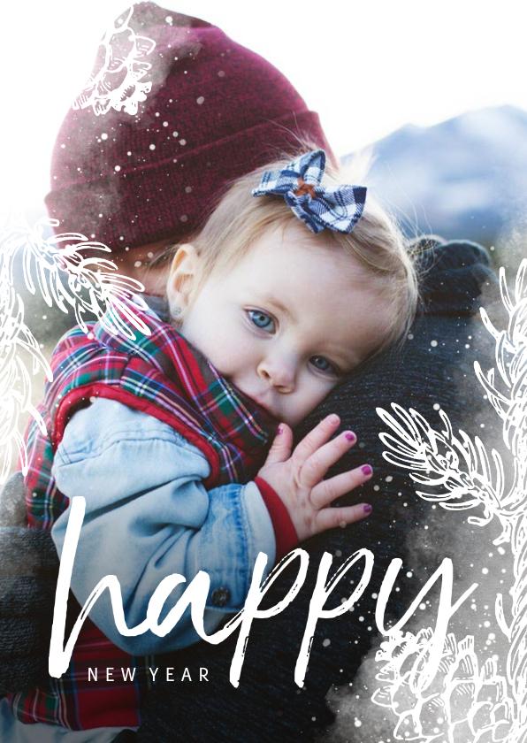 Nieuwjaarskaarten - Nieuwjaarskaart dennentakje wit met foto achtergrond