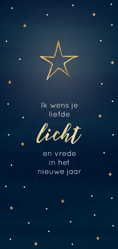 Nieuwjaarskaarten - Nieuwjaarskaart donkerblauw ster