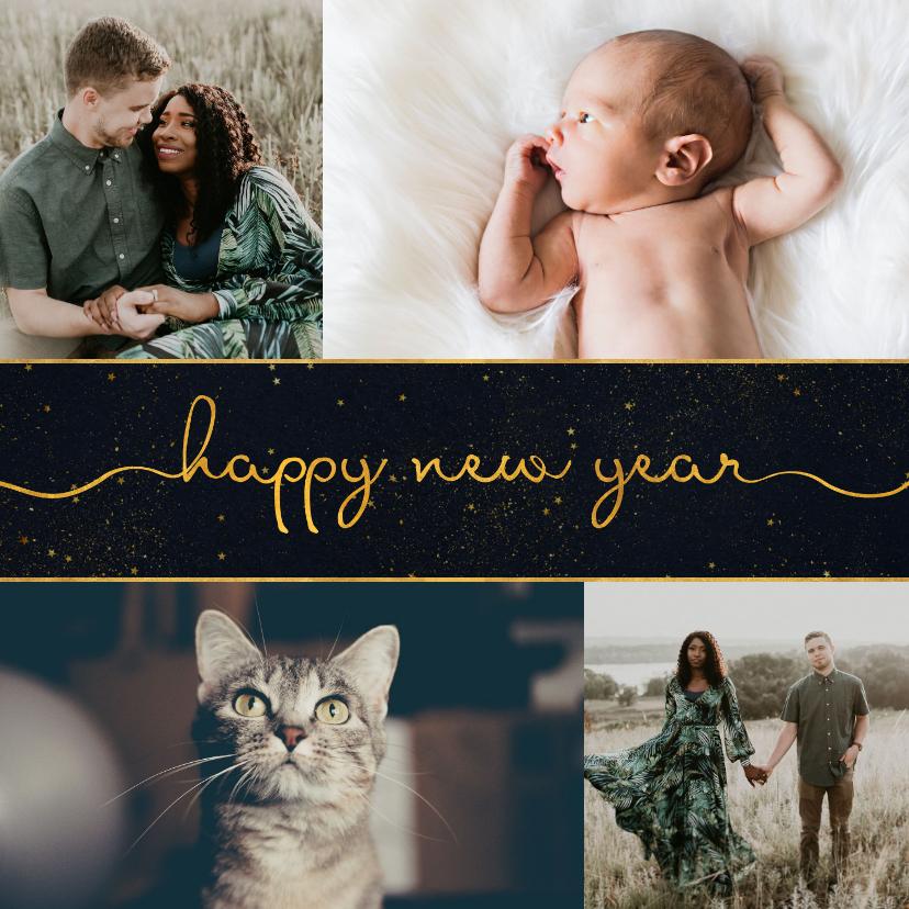 Nieuwjaarskaarten - Nieuwjaarskaart donkere achtergrond met sierlijke letters
