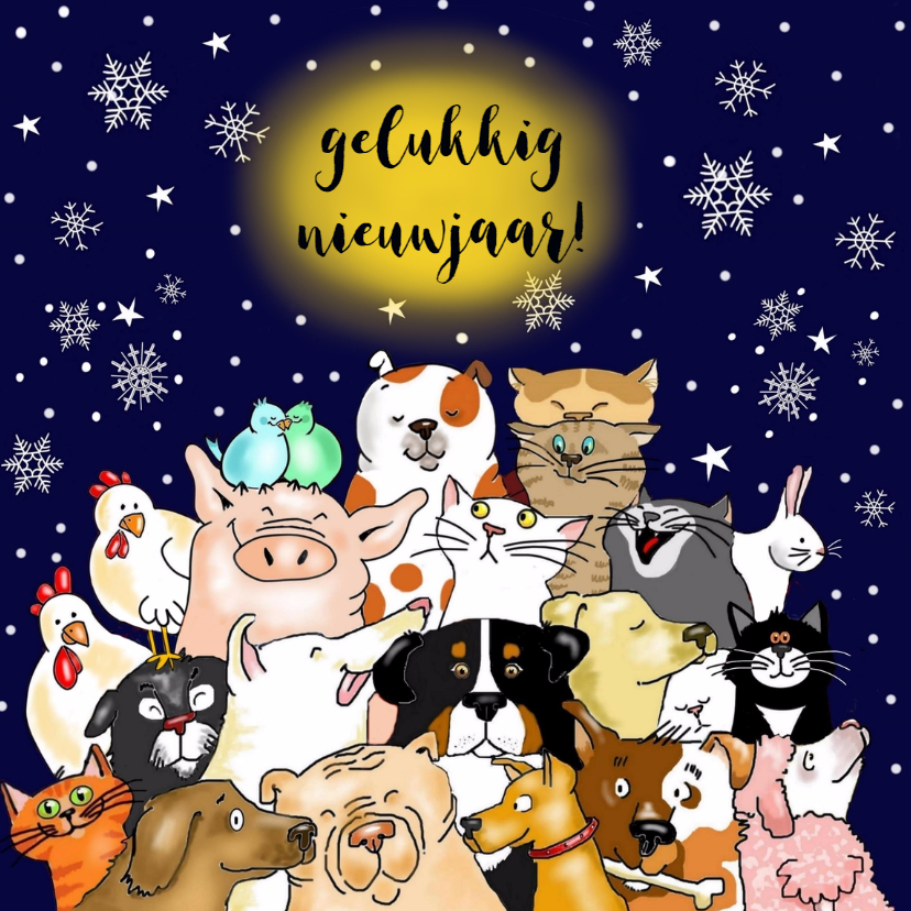 Nieuwjaarskaarten - Nieuwjaarskaart - een beestenboel