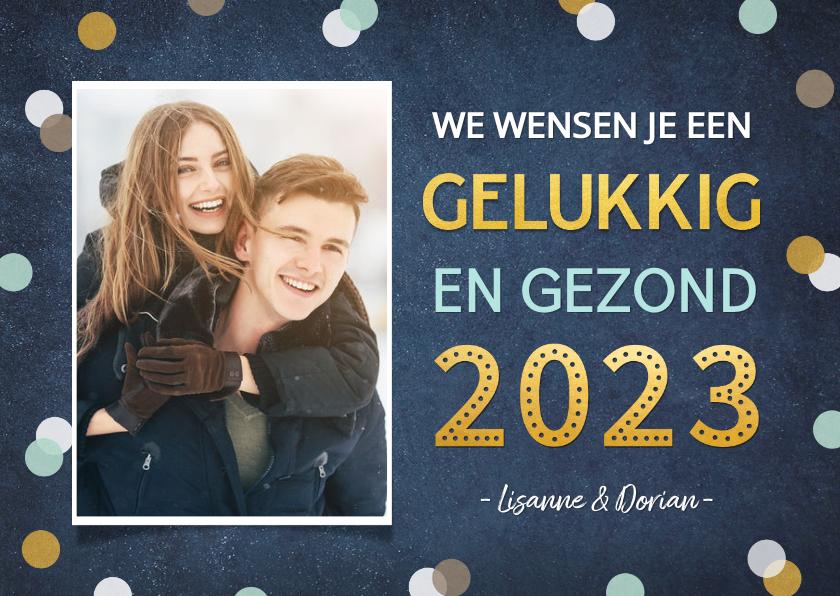 Nieuwjaarskaarten - Nieuwjaarskaart enkel met vrolijke confetti, goud en foto