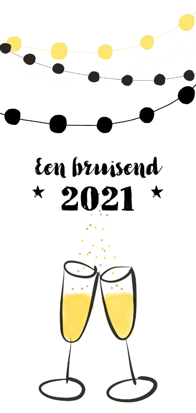 Nieuwjaarskaarten - Nieuwjaarskaart feest champagne jaartal