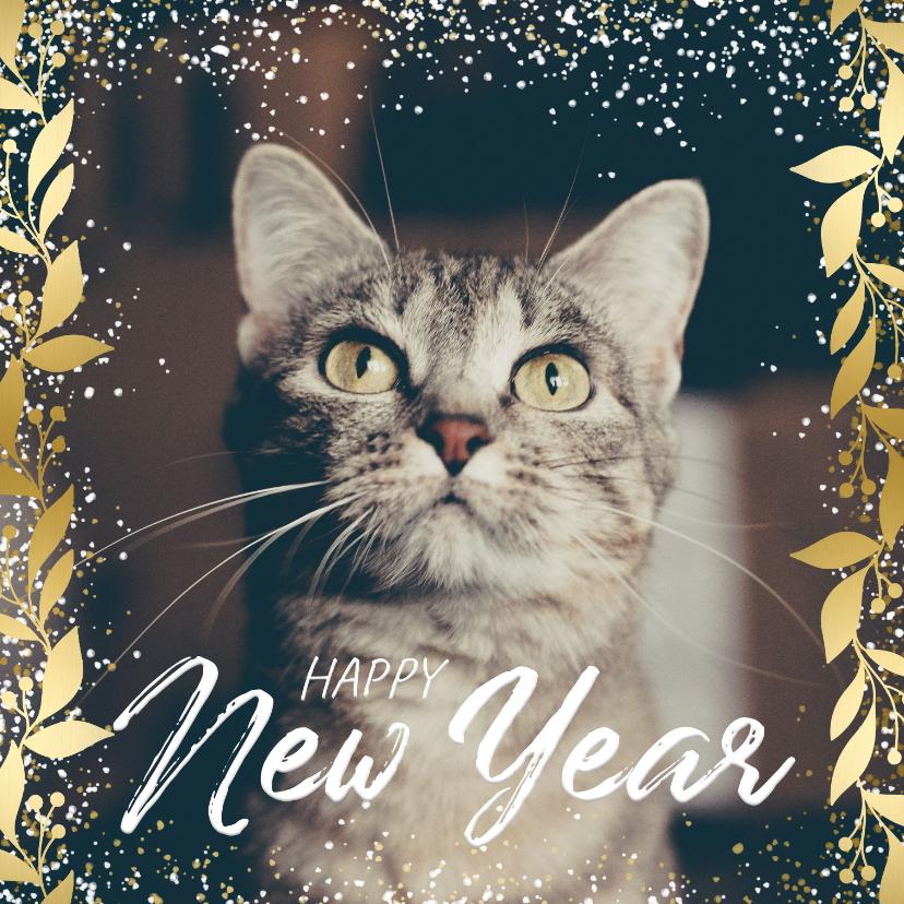 Nieuwjaarskaarten - Nieuwjaarskaart feestelijk gouden kader met confetti