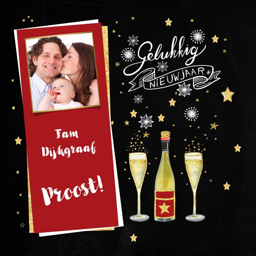Nieuwjaarskaarten - Nieuwjaarskaart fles champagne