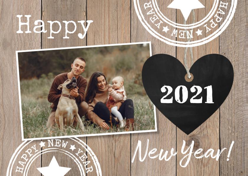 Nieuwjaarskaarten - Nieuwjaarskaart foto hout hartje krijtbord
