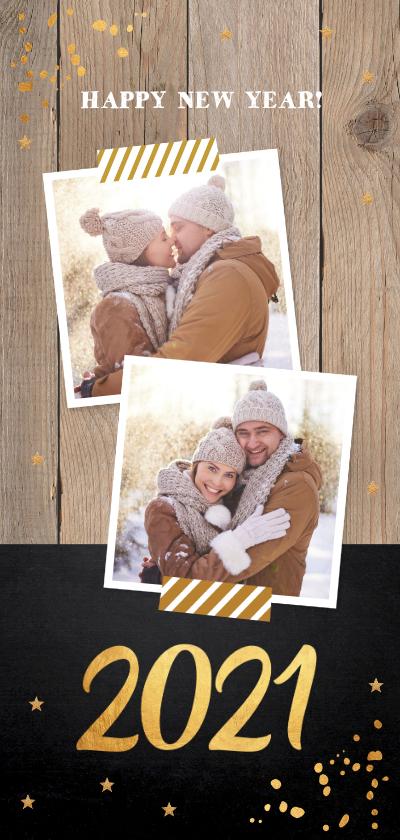 Nieuwjaarskaarten - Nieuwjaarskaart foto hout krijtbord goud