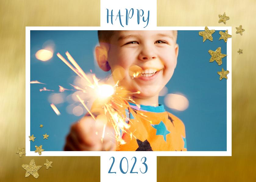 Nieuwjaarskaarten - Nieuwjaarskaart foto op goud kader