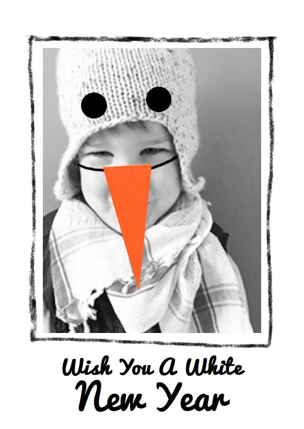 Nieuwjaarskaarten - nieuwjaarskaart foto sneeuwpop
